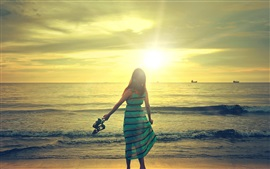 Preview wallpaper Happy girl walk in beach, sunshine, sea, waves