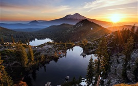 Preview wallpaper Heart Lake, mountains, trees, sunset, clouds, USA