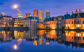 Holland, backlight, water reflection, city, evening, lights