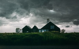 Houses, grass, clouds, storm before