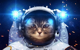 Preview wallpaper Humor, cat as a astronaut, space, light