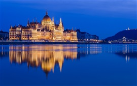 Preview wallpaper Hungarian Parliament building, Danube, Hungary, river, illumination, night