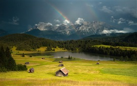 Huts, grass, mountains, lake, trees, storm, rainbow