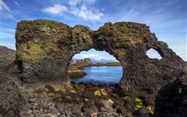 Preview wallpaper Iceland, arch, coast, stones