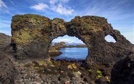 壁紙のプレビュー アイスランド、アーチ、海岸、石