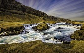 Исландия, река, ручей, гора, сумерки