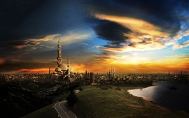 Preview wallpaper Islam mosque, city view, sunset, clouds