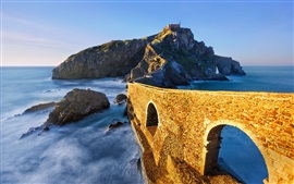 Island, bridge, sea, mountain, Spain