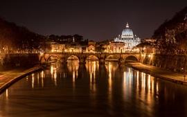 Itália, Roma, ponte, catedral, rio, luzes