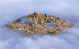 Lake Patzcuaro, Janitzio Island, Mexico, city, fog, houses