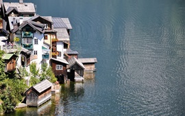 Preview wallpaper Lake, houses, town, water