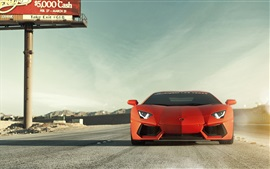 Preview wallpaper Lamborghini Aventador LP700-4 orange car front view, road
