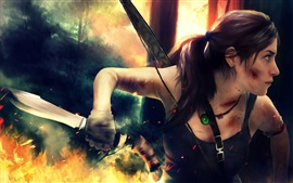 Preview wallpaper Lara Croft use knife, Tomb Raider games