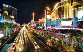 Preview wallpaper Las Vegas city night, buildings, road, lights, illumination