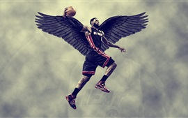 Preview wallpaper Lebron James, basketball, black wings, creative design