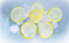 Lemon cut slice, ice, water