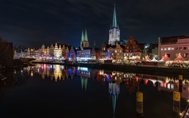 Lubeck, Germany, city night, lights, river, water reflection