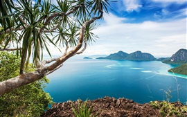Preview wallpaper Malaysia, sea, bushes, mountains, tree, islands, blue sky