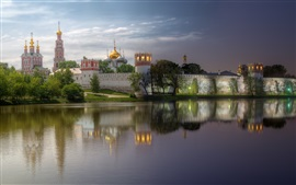 Preview wallpaper Monastery, Moscow, evening, river, water reflection