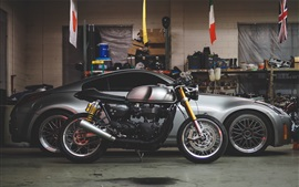 Preview wallpaper Motorcycle and car