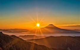 Preview wallpaper Mount Fuji, sunrise, fog, mountains, Japan