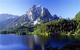 Mountains, lake, trees, water ripples
