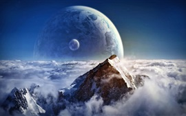 Preview wallpaper Mountains, snow, winter, planets