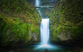 Multnomah falls, waterfall, bridge, dusk, Oregon, USA