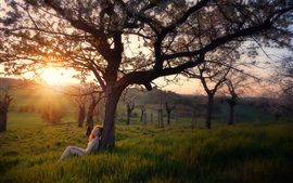 Preview wallpaper Nature, grass, trees, girl, sunrise