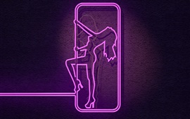 Preview wallpaper Neon lights, female figure