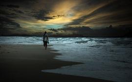 Noite, mar, praia, menina