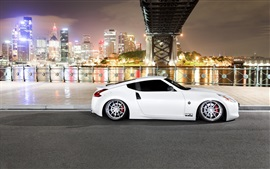 Preview wallpaper Nissan 370Z white car, night, city
