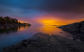 Norway, bay, sea, archipelago, trees, sunset