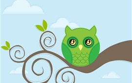Owl, tree branch, vector design