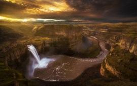 Palouse водопад, каньон, река, утро, Вашингтон, США