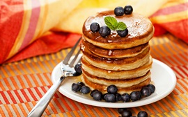 Pancakes, blueberries, dessert, food