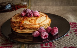 Preview wallpaper Pancakes, raspberries, honey