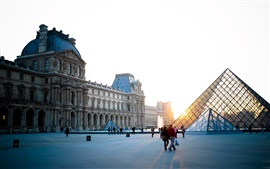 Preview wallpaper Paris, France, Louvre, square, people