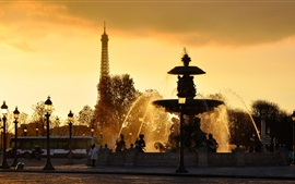 Paris, France, fountains, water splash, Eiffel Tower, sunset