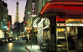 Paris, city street at night, cafe bar, lights, cars, road