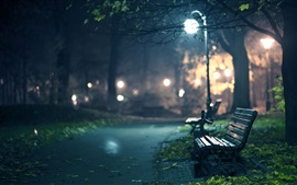 Preview wallpaper Park, bench, path, lights, night, glare