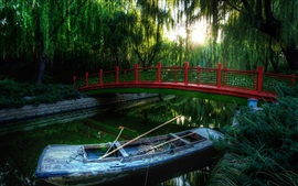 Park, willow, trees, bridge, river, boats, sun