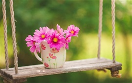 Preview wallpaper Pink flowers, cup, swing