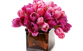 Preview wallpaper Pink tulips, vase
