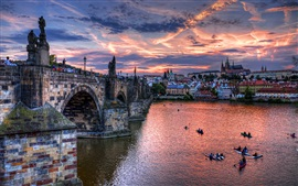 Prague, Czech Republic, bridge, river, boats, houses, dusk