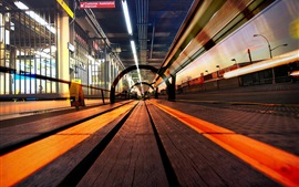 Railroad, track, city, lights
