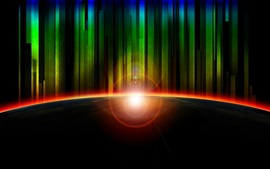 Preview wallpaper Rainbow rays, glare, light, planet, abstract art