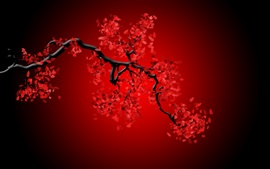 Preview wallpaper Red flowers, twigs, creative picture