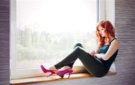 Preview wallpaper Red hair girl sit at window side