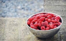 Vermelho, framboesas, fruta, tigela